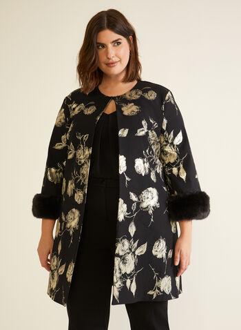 Joseph Ribkoff - Floral Motif Faux Fur Jacket, Black,  jacket, floral, metallic, faux fur, joseph ribkoff, frank lyman, fall winter 2020