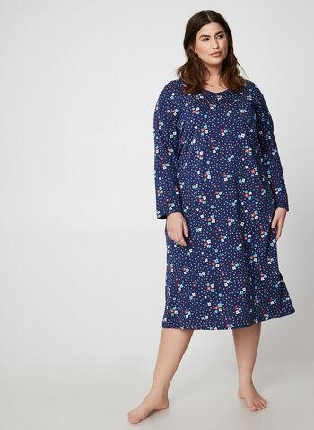 Hamilton - Chemise de nuit fleurie en coton, Bleu,  chemise de nuit, fleurs, pois, manches longues, coton, automne hiver 2019