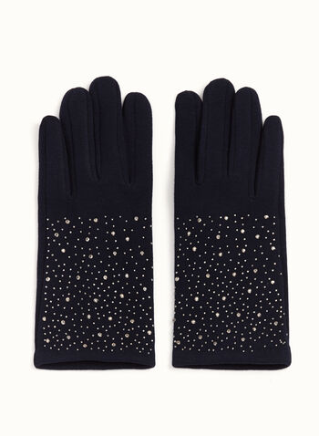 Crystal-Studded Gloves, Blue, hi-res