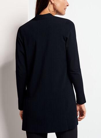 Long cardigan fendu en tricot, Bleu, hi-res