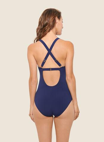 Christina - Mosaic Print Crisscross Back Swimsuit, Blue,  swimsuit, swimwear, mosaic print, one piece, fall winter 2020