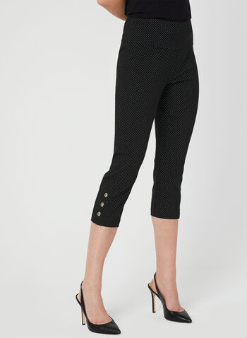 Polka Dot Print Capri Pants, Black, hi-res