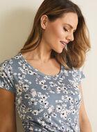 Floral Print Scoop Neck Nightgown, Grey