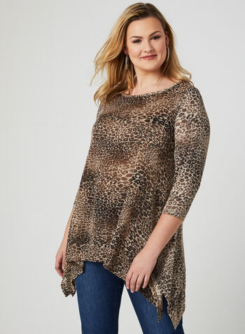 Leopard Print Tunic, Yellow, hi-res