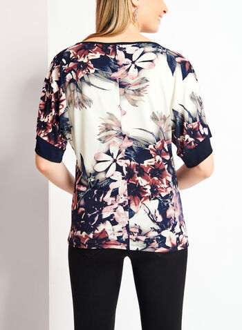 Floral Print 3/4 Kimono Sleeve Top , , hi-res