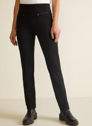Pantalon pull-on à jambe droite, Noir,  pantalon, droit, poches, pinces, automne hiver 2020