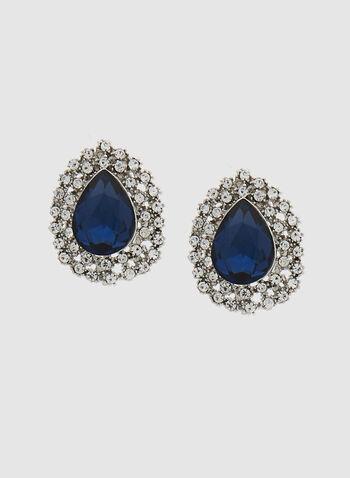 Boucles d'oreilles à pendant pierre et cristaux, Bleu, hi-res