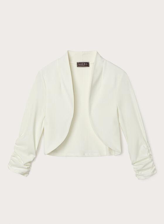 Shirred Sleeve Open Front Bolero, Off White, hi-res