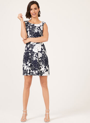 Floral Print Empire Dress, Blue, hi-res