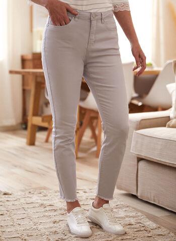 Pantalon à jambe droite et ourlet effiloché, Argent,  pantalon, denim, fait au canada, taille mi-haute, jambe droite, bouton, glissière, ganses, poches, rivets métalliques, ourlet effiloché, denim extensible, printemps été 2021