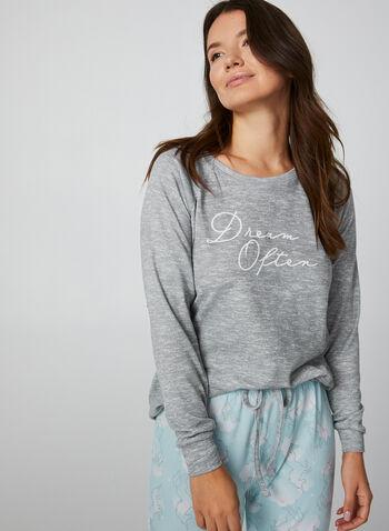 René Rofé - Two Piece Pyjama Set, Grey, hi-res,  René Rofé, sleepwear, pyjama, unicorn print, fall 2019, winter 2019