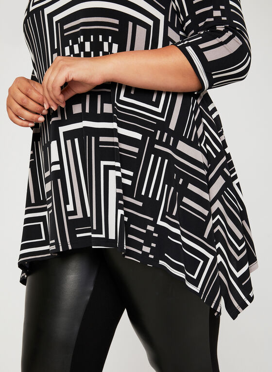Geometric Print ¾ Sleeve Tunic, Grey, hi-res