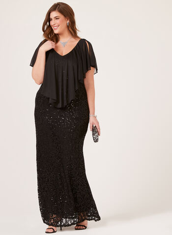 Marina - Sequin Lace Poncho Dress, Black, hi-res