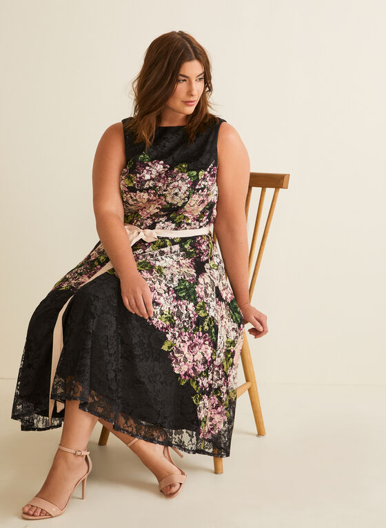 Belted Floral Print Lace Dress, Black