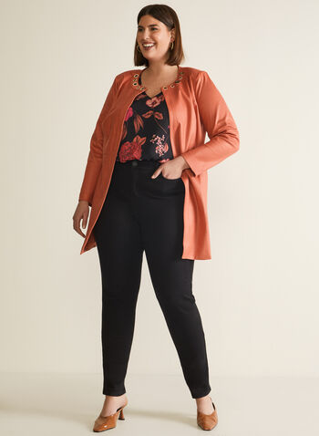 Veste ouverte en faux cuir aspect suède, Orange,  veste, œillets, faux suède, manches longues, col rond, poches, printemps été 2020