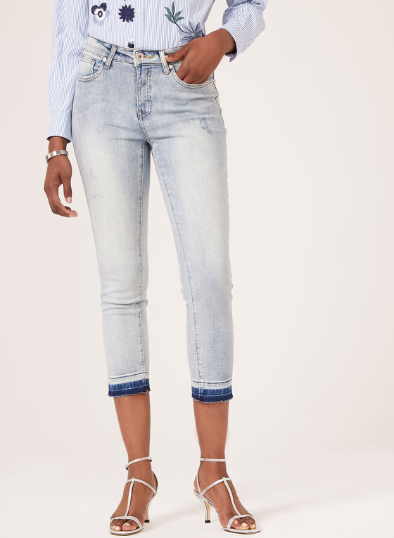 Tribal - Modern Fit Distressed Capri Jeans, Blue, hi-res