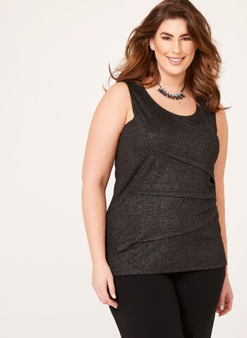Sleeveless Glitter Top, Black, hi-res