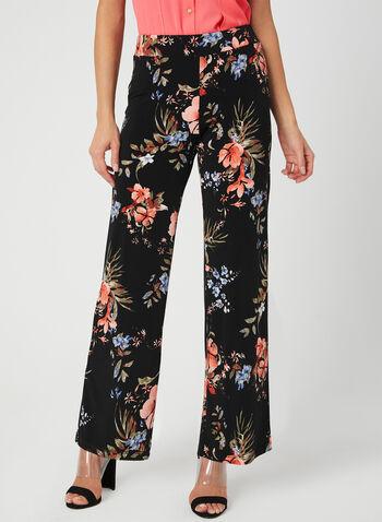 Pantalon pull-on à fleurs, Noir, hi-res,  pantalon, pull-on, jambe large, fleurs, printemps 2019