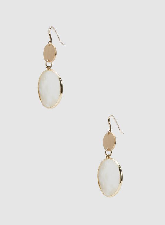 Boucles d'oreilles à pendants ronds nacré, Blanc, hi-res