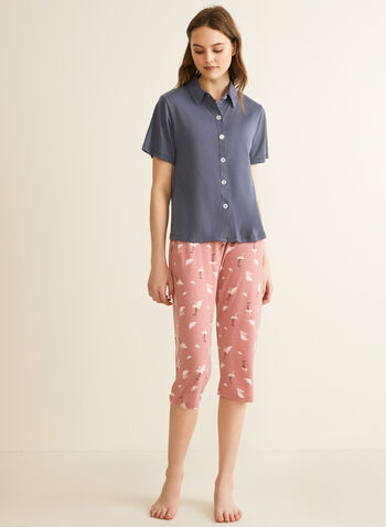 Comfort & Co. - Shirt & Capri Pyjama Set, Grey,  pyjamas, sleepwear, shirt, capris, button-up, shirt collar, short sleeves, flamingo, stretchy, spring summer 2020