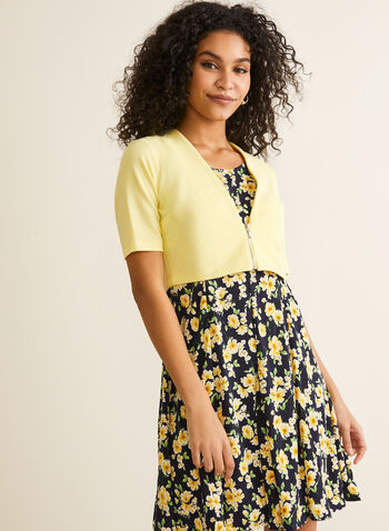 Floral Print Dress & Bolero, Blue,  sleeveless, fit & flare, jersey, spring 2019