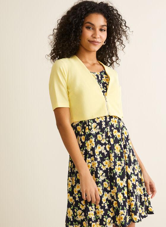 Floral Print Dress & Bolero, Blue