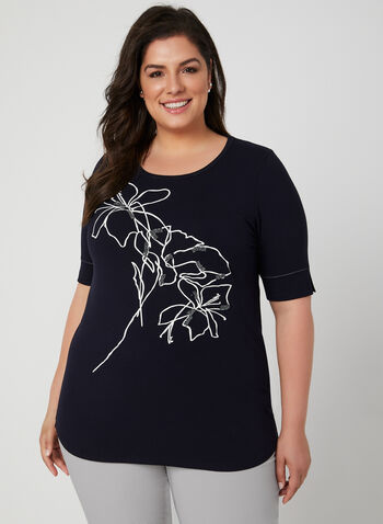 Floral Appliqué Elbow Sleeve Top, Blue, hi-res