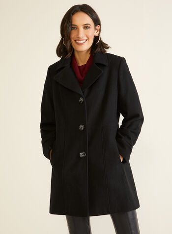 Structured Wool Blend Coat, Black,  fall winter 2020, wool, blend, coat, notched collar, holiday