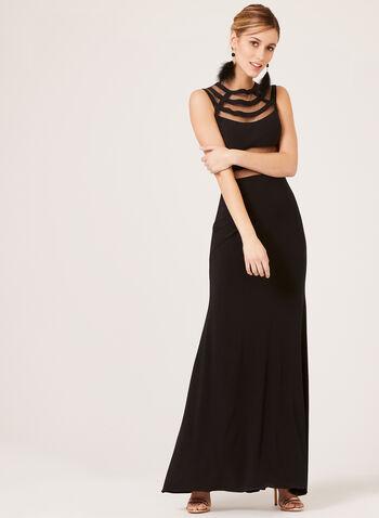 Long Mesh Evening Dresses, Black, hi-res