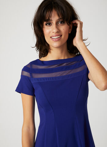 Mesh Yoke Fit & Flare Dress, Blue, hi-res