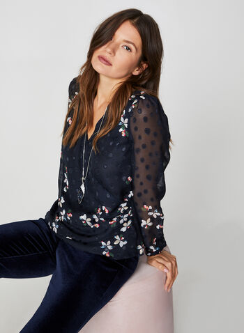 Faux Wrap Floral Blouse, Blue, hi-res,  blouse, long sleeves, jacquard chiffon, floral, fall 2019, winter 2019