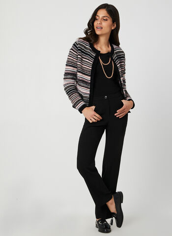 Stripe Print Cardigan, Black, hi-res,  cardigan, knit, long sleeves, stripe print, cropped, open front, fall 2019, winter 2019
