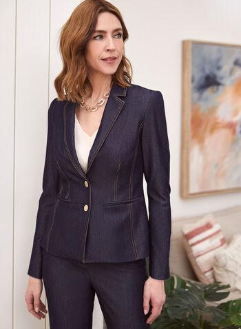 Veste en denim à col cranté, Bleu,  veste, col cranté, manches longues, boutons, surpiqûres, printemps été 2020
