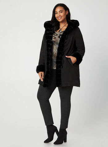 Nuage - Reversible Hooded Coat, Black,  faux fur coat