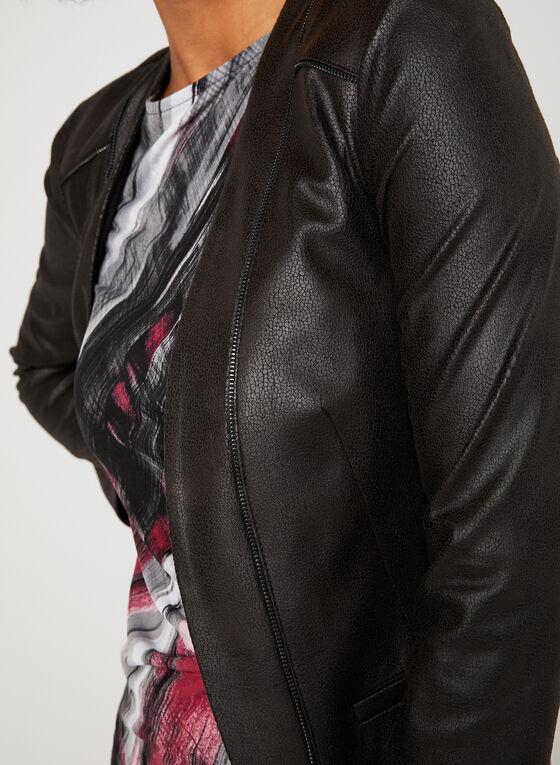 Vex - Faux Leather Cropped Jacket, Black, hi-res