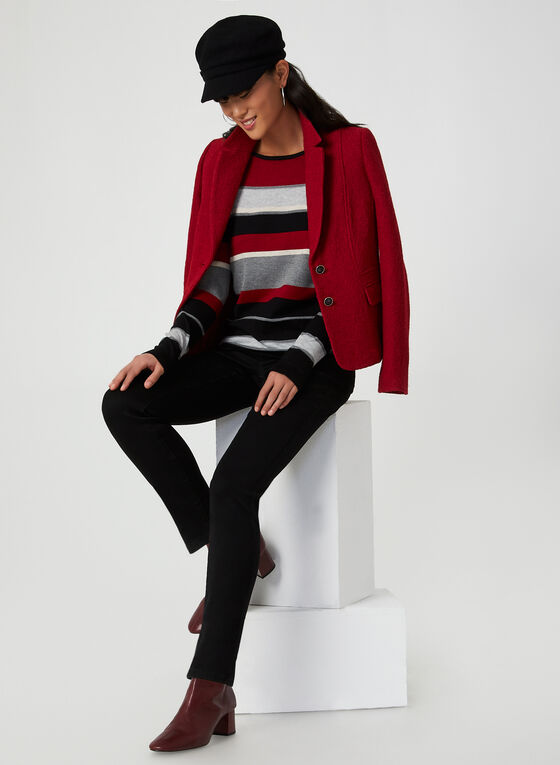 Pull rayé en tricot , Rouge