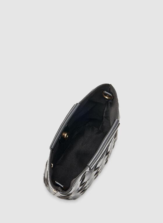 Basket Weave Handbag, Black, hi-res