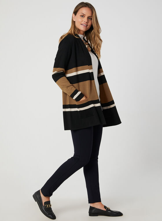 Stripe Print Open Front Cardigan, Black