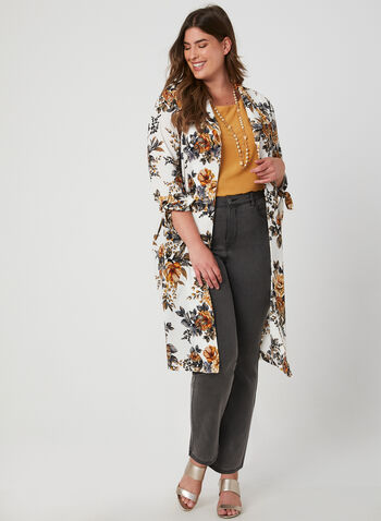 Floral Print Duster Jacket, White, hi-res,  ¾ sleeves, 3/4 sleeves, tie detail, textured, long cardigan, fall 2019, winter 2019