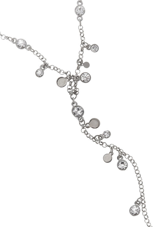 Crystal Y-Necklace , Silver, hi-res