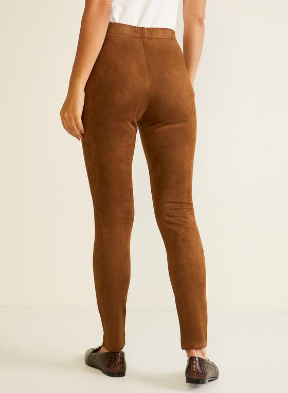 Zipper Detail Faux Suede Leggings, Brown