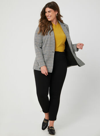 Plaid Print Blazer, Black, hi-res,  notch collar, long sleeves, long blazer, stretchy, fall 2019, winter 2019, one button