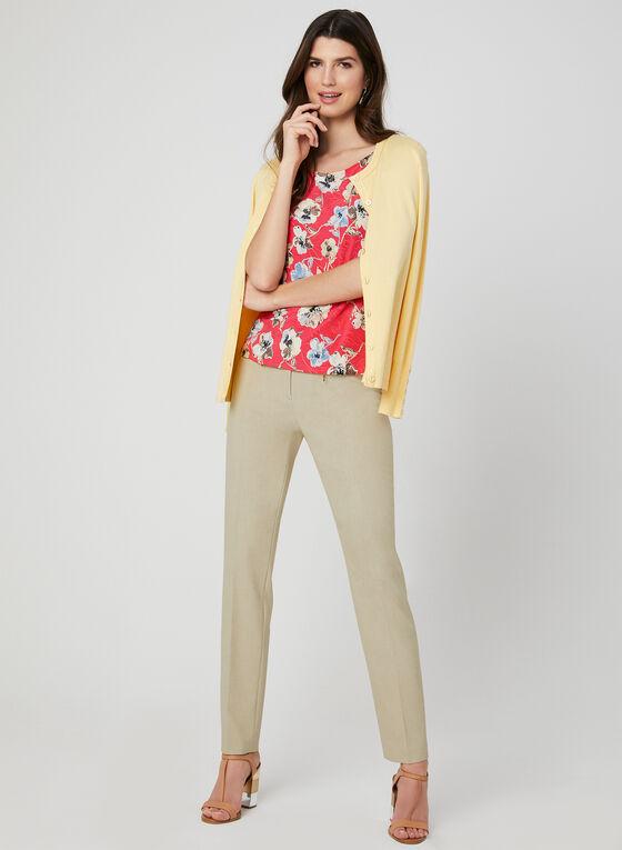 Floral Print Flutter Sleeve Top, Orange, hi-res