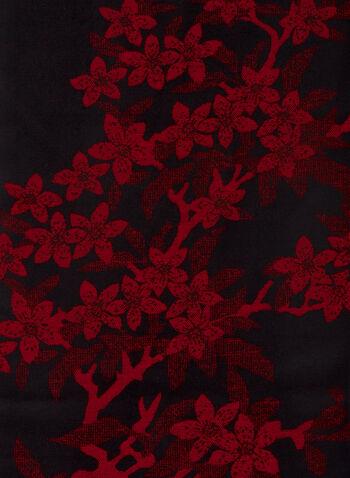 Foulard à motif floral , Rouge,  foulard, écharpe, hiver, fleurs, motifs, réversible, automne hiver 2020