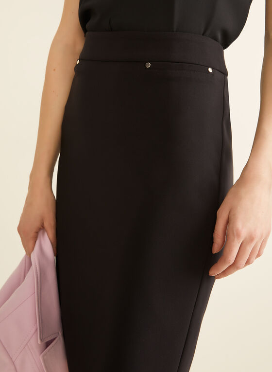 Stud Detail Straight Skirt, Black