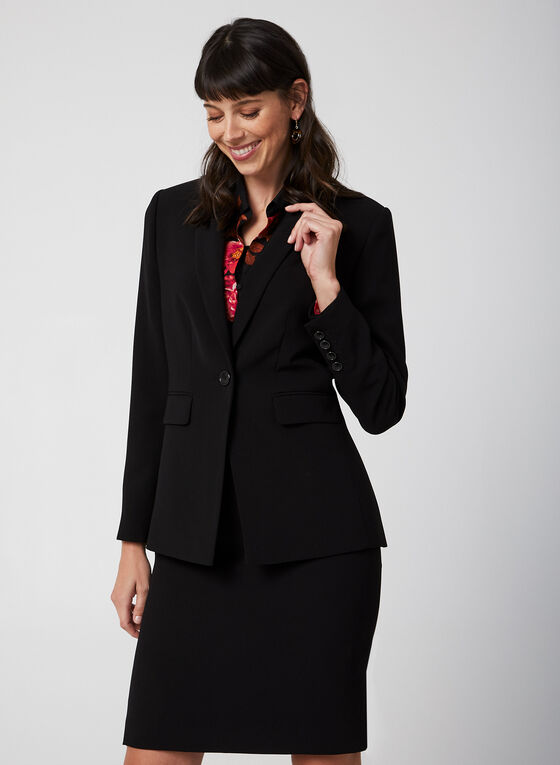 One Button Notch Collar Blazer, Black, hi-res