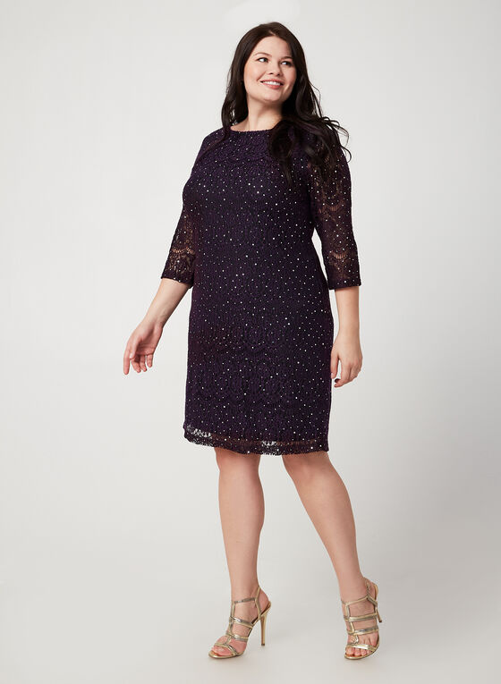 Sequin Lace Dress, Purple