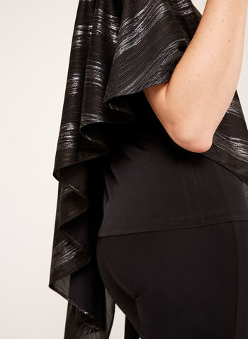 Asymmetric Metallic Stripe Poncho, Black, hi-res