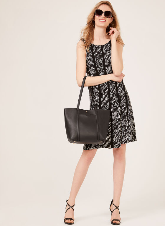 Abstract Print Sleeveless Jersey Dress, Black, hi-res