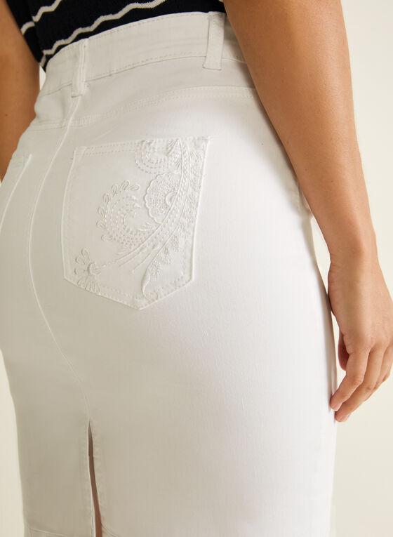 Blossom - Denim Straight Skirt, White